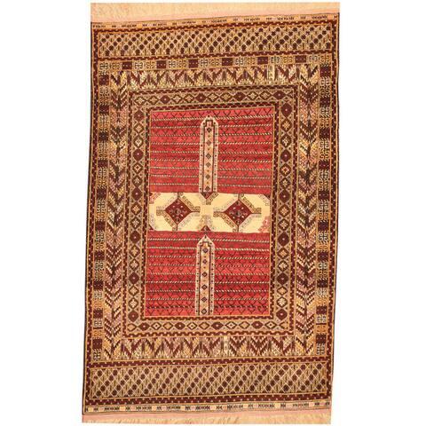 Handmade Herat Oriental Afghan Tribal Turkoman Wool & Silk Rug (Afghanistan) - 4' x 6'