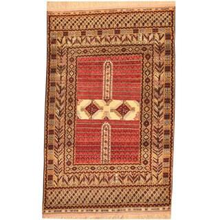 Herat Oriental Afghan Hand-knotted Tribal Turkoman Wool & Silk Rug (4' x 6')