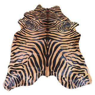 Astonishing Exquisite Black Zebra Design On A Vibrant Caramel 100% Argentinean Cowhide Size 5 Feet By 7 Feet