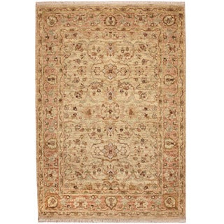 Herat Oriental Indo Hand-knotted Vegetable Dye Oushak Wool Rug (4'1 x 5'10)
