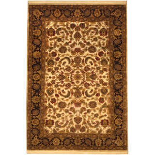 Herat Oriental Indo Hand-knotted Vegetable Dye Oushak Wool Rug (4'2 x 6')