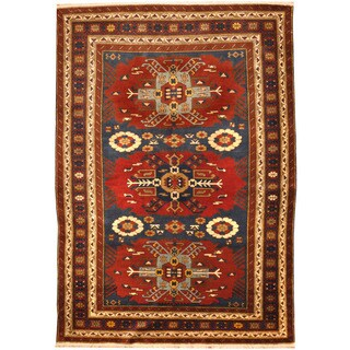 Herat Oriental Turkish Hand-knotted Vegetable Dye Kazak Wool Rug (4'3 x 6'6)