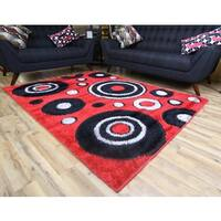 Machine-made Gloria Shaggy Red Polypropylene Area Rug (5' x 8')