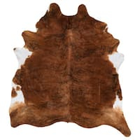 Beautiful White/Brown Soft 100% Argentinean Cowhide - 5' x 7'
