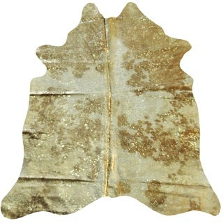 Metallic Gold/White Argentinean Cowhide Rug (5' x 7') - 5' x 7'