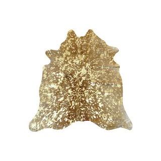 Gold/Metallic/White Argentinean Cowhide Rug (5' x 7')