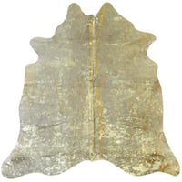 Elegant Gold Metallic on White Premium 100% Argentinean Cowhide - 5' x 7'