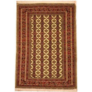 Herat Oriental Afghan Hand-knotted Vegetable Dye Turkoman Wool Rug (4'3 x 6')