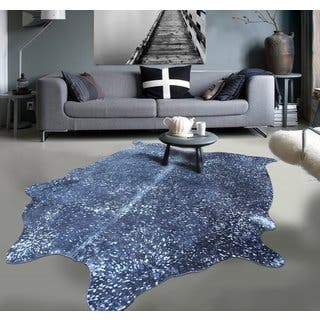 Pergamino Navy Blue Cowhide Rug Ends In 1 Day Premium 100 Argentinean Metallic Black Acid Wash Cow Hide Size 5 Feet By 7