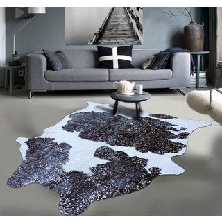 Metallic Black and White Premium 100% Argentinean Cow Hide Rug (5' x 7')