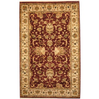 Herat Oriental Indo Hand-knotted Vegetable Dye Oushak Wool Rug (4' x 6'2)