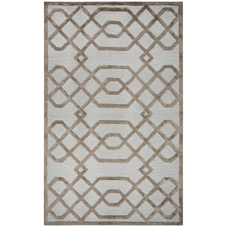 Rizzy Home Monroe Cream Wool and Viscose Hand-tufted Area Rug (5' x 8')