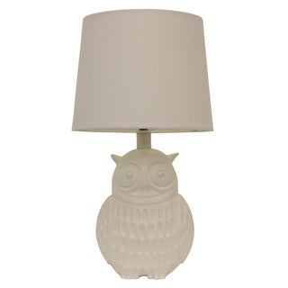 Decor Therapy Owl White Polyresin Table Lamp