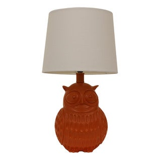 Decor Therapy Owl Orange Polyresin Table Lamp