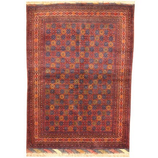 Herat Oriental Afghan Hand-knotted Vegetable Dye Turkoman Wool Rug (4'2 x 5'7)