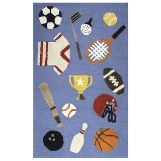 Playground Blue Wool Hand-tufted Rug (3' x 5') - 3' x 5'