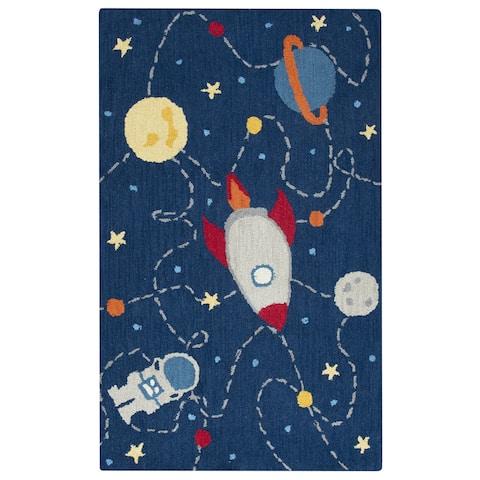 Playground Navy Wool Hand-tufted Kids Rug (3' x 5') - 3' x 5'
