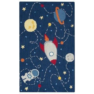 Rizzy Home Play Day Navy Wool Hand-tufted Kids Rug (3' x 5')