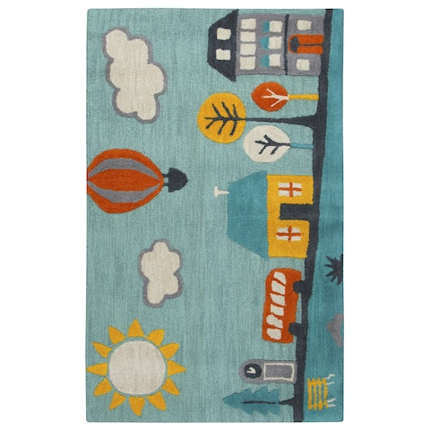 Playground Multicolored Wool Hand-tufted Novelty Rug (3'x5') - 3' x 5'