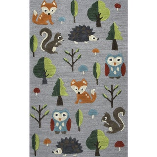 Playground Grey Wool Hand-Tufted Rug (3' x 5') - 3' x 5'