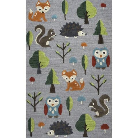 Playground Grey Wool Hand-Tufted Rug (3' x 5') - 3' x 5'
