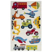 Rizzy Home Play Day Ivory Wool Hand-tufted Rug (3' x 5')