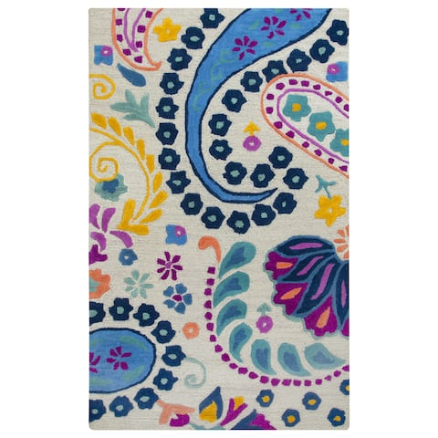 Playground Blue Wool Hand-tufted Area Rug (3' x 5') - 3' x 5'