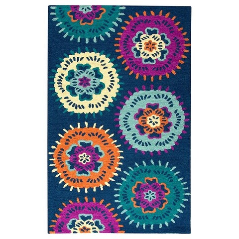 Hand-tufted Playground Navy Rug (3' x 5') - 3' x 5'
