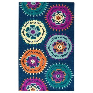 Rizzy Home Hand-tufted Play Day Navy Rug (3' x 5')