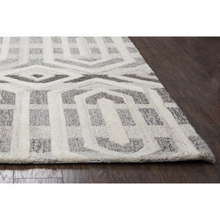 Makalu Grey Wool Hand-tufted Rug (5' x 8') - 5' x 8'
