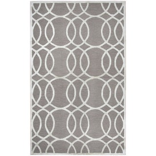 Rizzy Home Hand-tufted Monroe Light Gray Wool & Viscose Rug (5' x 8')