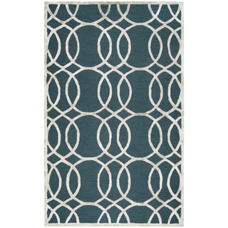 Rizzy Home Hand-Tufted Monroe Dark Teal Wool & Viscose Rug (5' x 8')