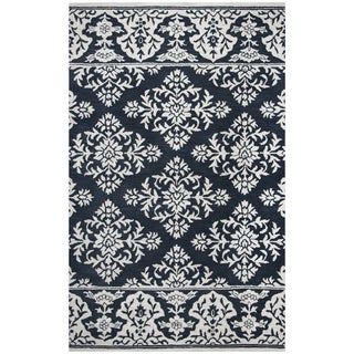 Rizzy Home Marianna Fields Navy Wool Hand-tufted Area Rug (5' x 8') - 5' x 8'