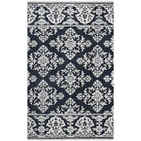 Rizzy Home Marianna Fields Navy Wool Hand-tufted Area Rug (5' x 8')