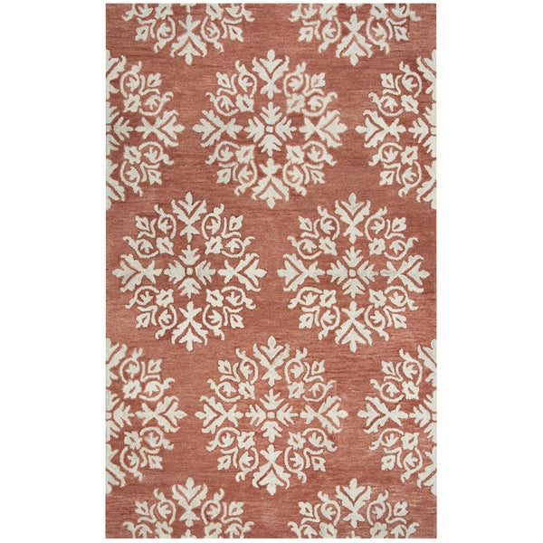 Rizzy Home Leone Dark Coral Hand-Tufted Medallion Wool Rug (5' x 8')