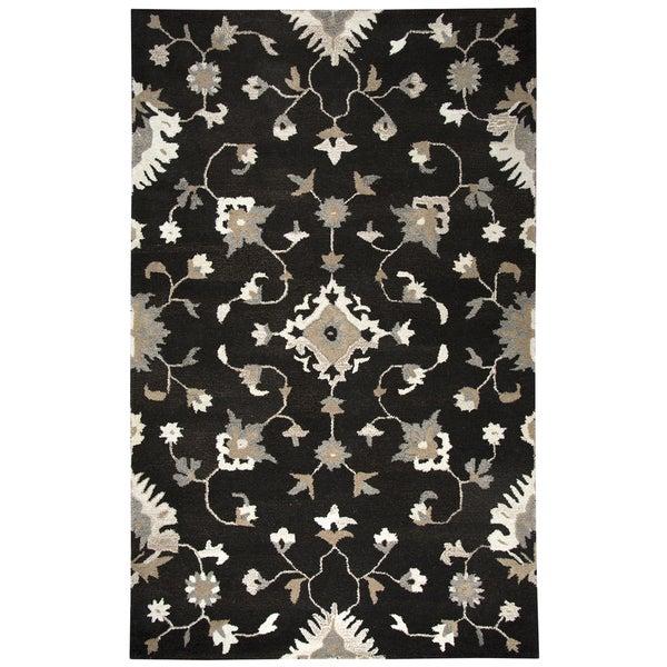Rizzy Home Suffolk Dark Chocolate w/ Beige/White Pattern Hand-Tufted Wool Rug (5' x 8')