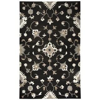 Rizzy Home Suffolk Dark Chocolate w/ Beige/White Pattern Hand-Tufted Wool Rug (5' x 8') - 5' x 8'