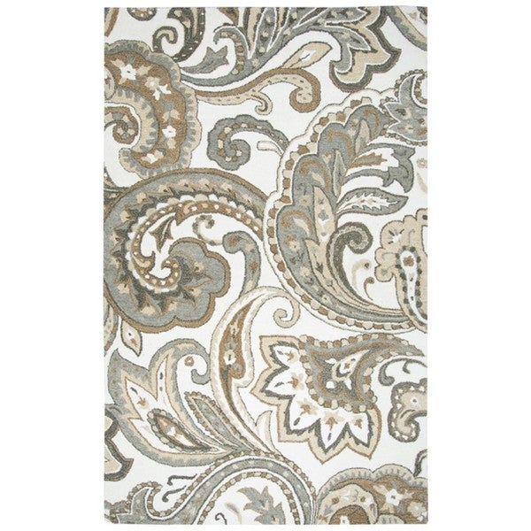 Rizzy Home Hand-Tufted Suffolk Beige Paisley Wool Rug (5' x 8')