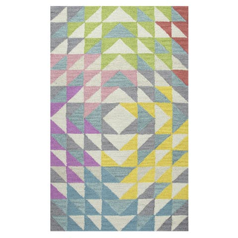 Playground Multicolored Wool Hand-Tufted Area Rug (5' x 7') - 5' x 7'