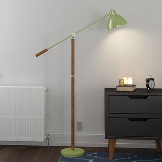 Pharmacy Floor Lamp with Adjustable Arm and Shade (Option: Green)