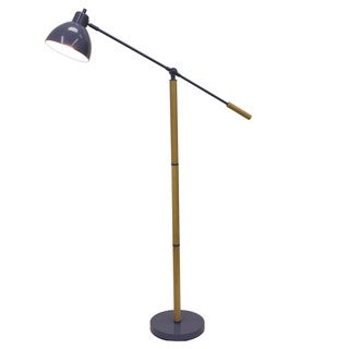 Pharmacy Floor Lamp with Adjustable Arm and Shade