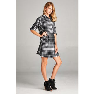 Spicy Mix Avah Black Cotton Brushed Plaid Rolled-sleeve Striped Dress