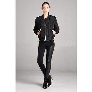 Spicy Mix Philomena Black Polyester Long Sleeve Bomber Jacket