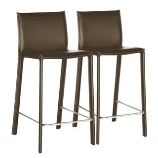 Kazan Brown Leather Barstools (Set of 2) (As Is Item)