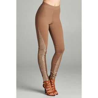 Brown Nylon/Rayon/Spandex Legging Pant with Sequin Accents