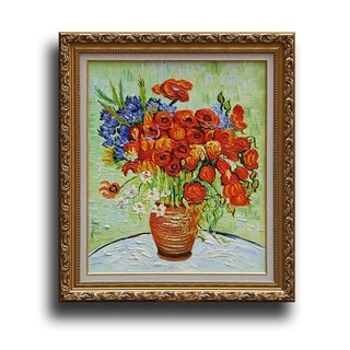 Vincent Van Gogh 'Daisies and Poppies' Framed Canvas Art