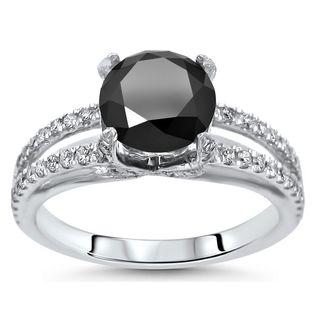 Noori 18k Gold 2ct TDW Black Round Diamond Engagement Ring (G-H, SI1-SI2)