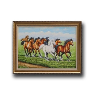 'Eight Horses' Multicolored Wooden Hand-painted Artwork