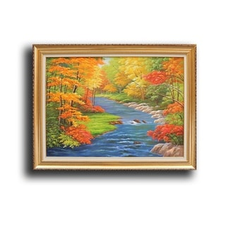 'Small Waterfall in Peaceful Autumn Forest' Handpainted Art