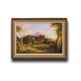 Thomas Cole's 'The Departure' Multicolored Wooden Landscape Artwork